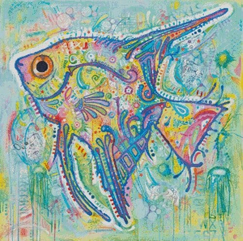 Abstract Angel Fish by Artecy printed cross stitch chart